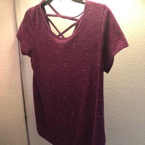Cross back maroon shirt